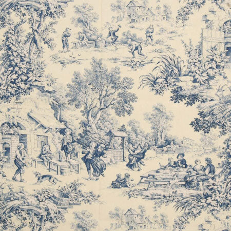Cream and blue fabric pattern depicting a traditional family scene, that looks like a Royal Doulton bowl