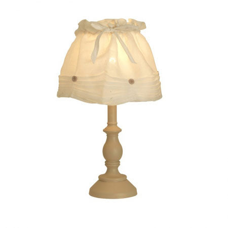 Wooden table lamp with cream fabric shade
