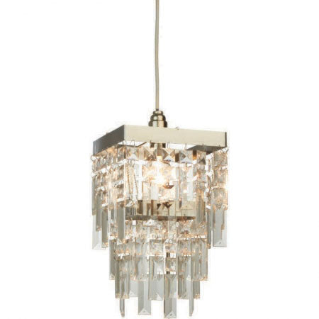 A glass chandelier style light fixture for the home