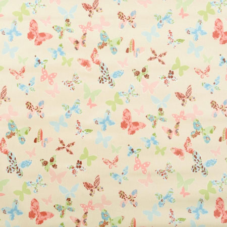 Cream fabric with colourful butterfly design
