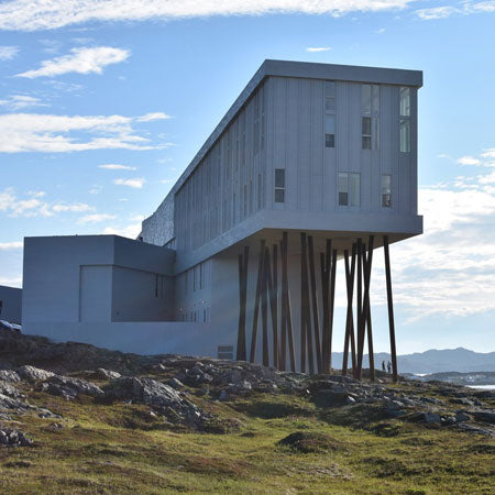 Fogo Inn Newfoundland, Hotel building with lots of support beams