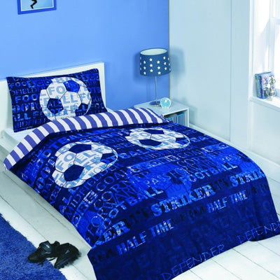 Blue double bedding with striped and footballs