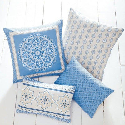 Summer Blues Inspiration - blue and cream cushions with floral and geometric patterns