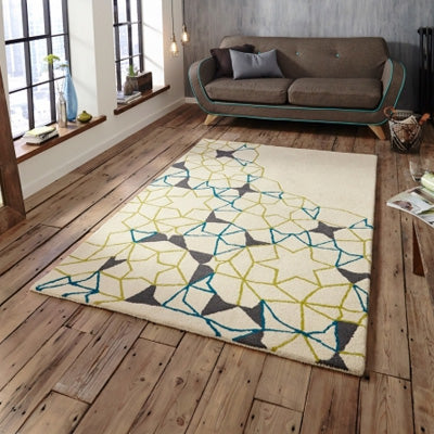 Cream Rug With Brown, Blue And Yellow Geometric Design