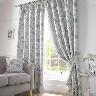 Summer Blues Inspiration - Cream and light blue pencil pleat curtains
