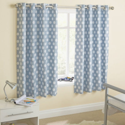 Short duck egg blue curtains with white circle dots