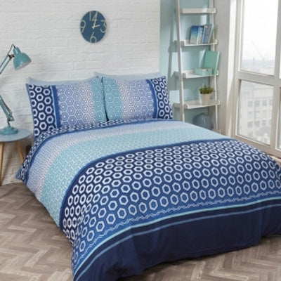 Summer Blues Inspiration - geometric bedding in various shades of blue