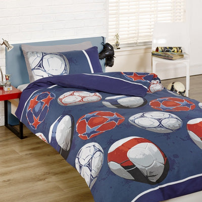 Different types of footballs on blue bedding