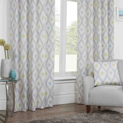 Geometric White, Grey And Yellow Curtains