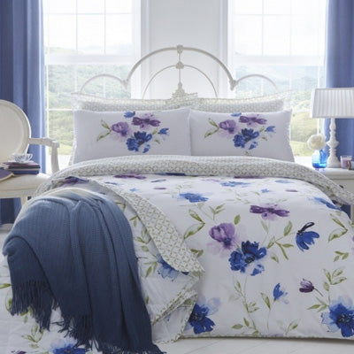Summer Blues Inspiration - white bedding with purple and blue floral pattern
