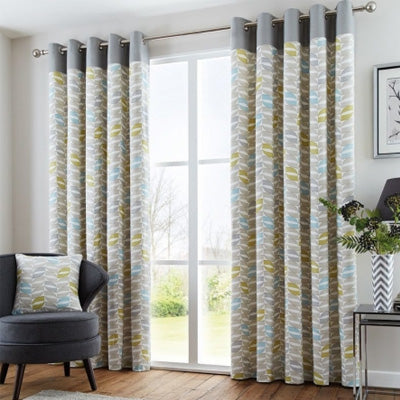 Geometric Yellow, Blue And Grey Curtains