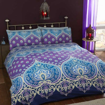 Blue and purple Indian style double bedding