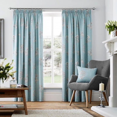 Duck Egg Blue Curtains With A Grey Design