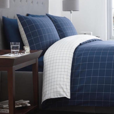 Summer Blues Inspiration - blue bedding with a white pinstripe checked design