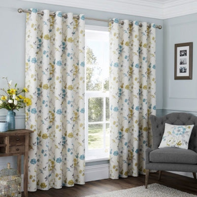 White Curtains With A Blue And Yellow Design