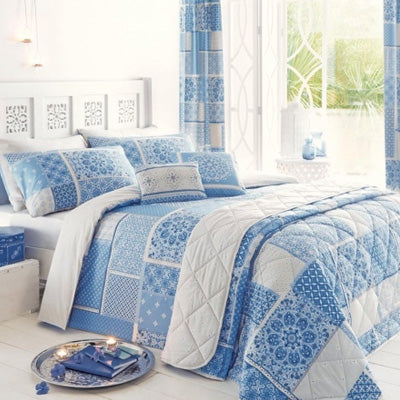 Summer Blues Inspiration - light blue and white patchwork bedding