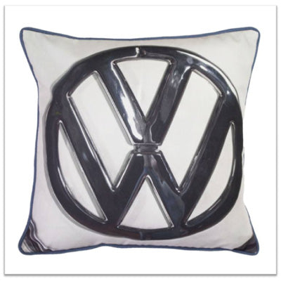 Pack Up Your Troubles Inspiration - white cushion with a large VW logo on it