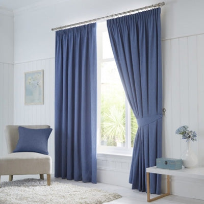 Summer Blues Inspiration - blue pencil pleat living room curtains