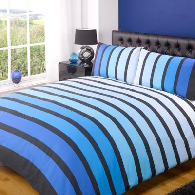 Striped bedding in black and various shades of blue