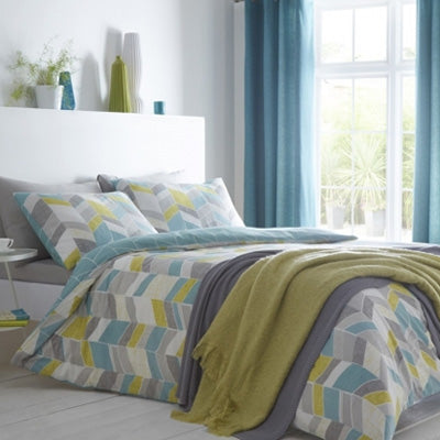 Geometric Jagged Bedding Design In White, Grey, Yellow And Duck Egg