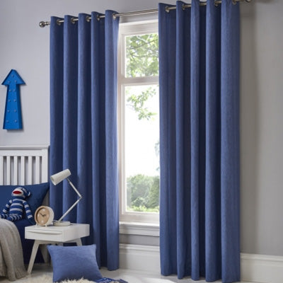 Summer Blues Inspiration - blue eyelet curtains at a window