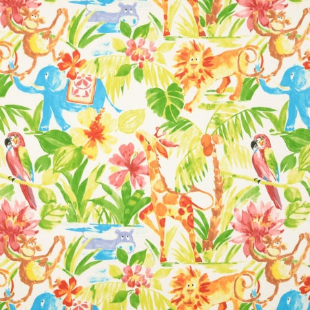 A vibrant and bright fabric swatch of cartoon safari and jungle animals