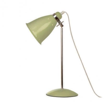 Sage green table lamp on a white background