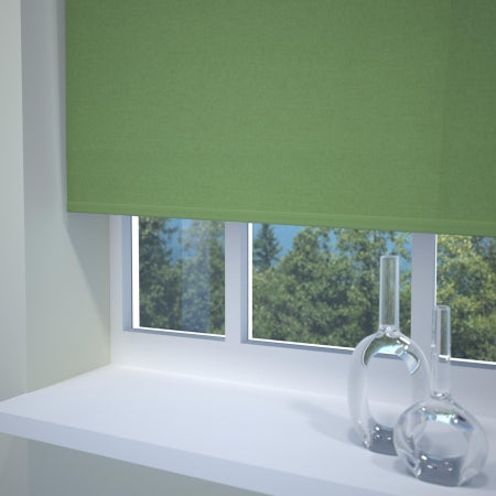 Dark green roller blind at a window