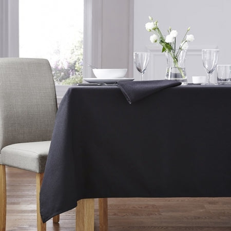 Black tablecloth on a dining table