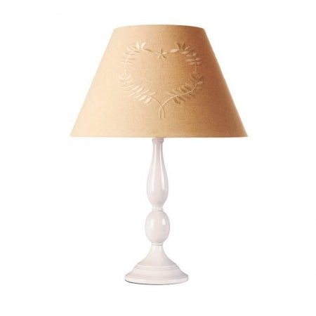 White ceramic lamp with a beige lampshade