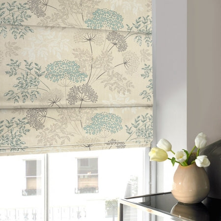 Cream roman blind with duck egg blue and beige floral design