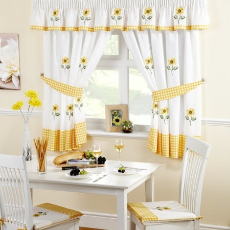 white kitchen curtains with yellow edges and yellow floral pattern