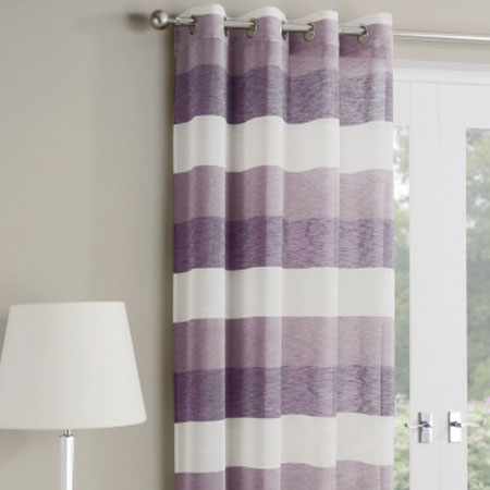 Purple And White Striped Eyelet Curtains