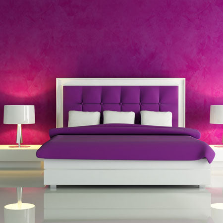 Very Purple Bedroom, With White Accessories
