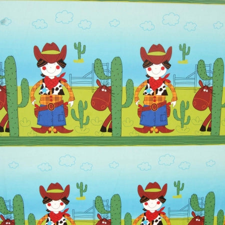 Cartoon style cowboy fabric with cowboy, horse and cactus