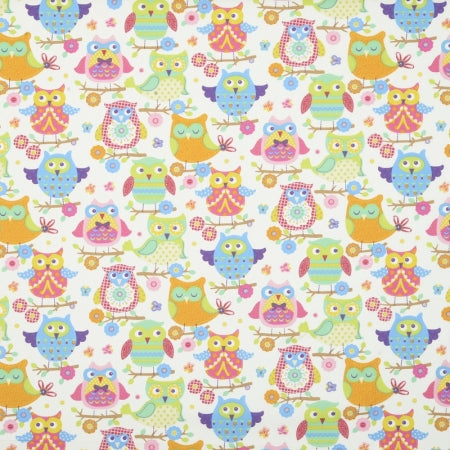 Cute owl patterned fabric swatch in pink, light blue and orange