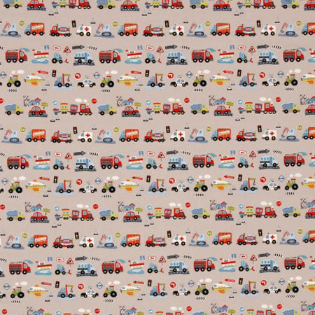 Light brown fabric with transport and vehicles repeat pattern theme