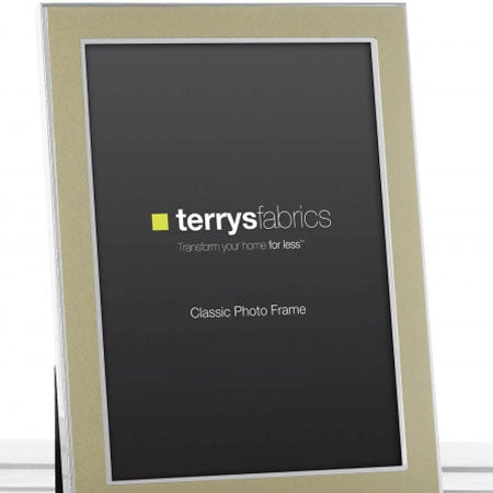 A metallic picture frame