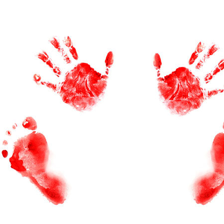 Red hand and foot prints on a white background
