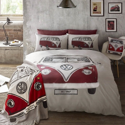 Large Red Camper Van On Beige Bedding