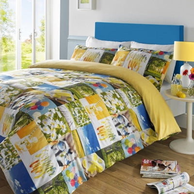 Collage bedding with summer themed photos in blue, yellow, white and green