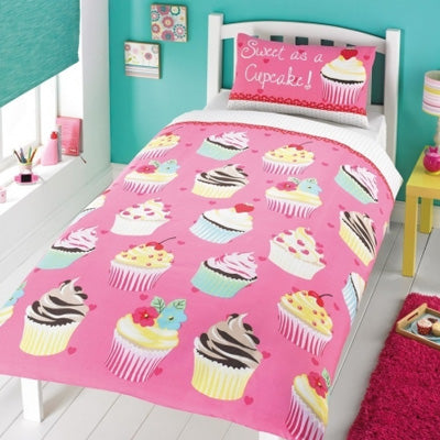 Pink single bedding with cupcake design