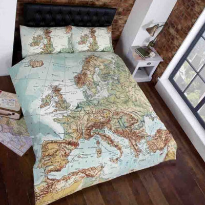A Map Of Europe On Single Bedding