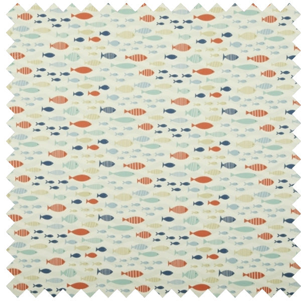 Little Red, Blue And Cream Fish Fabric