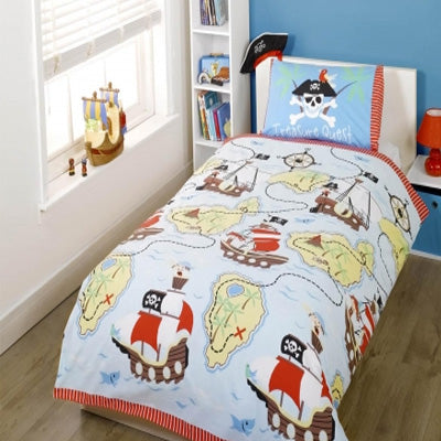 Light blue single bedding with pirate ship and map design