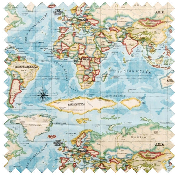 Printed Fabric Containing A World Map