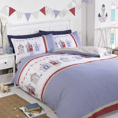 Blue Double Bedding With A Beach Hut Design