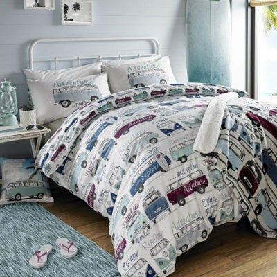 Blue And Maroon Camper Vans On white Bedding