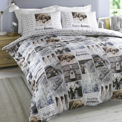 Dogs, Pets And Birdhouse Images On white Bedding