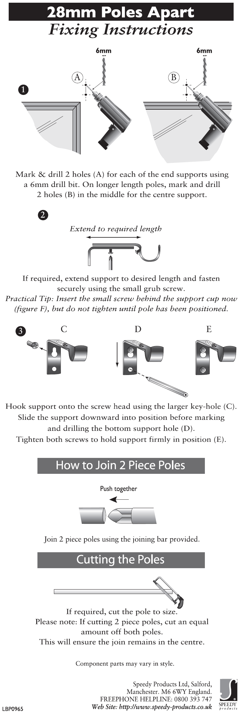 28mm Poles Apart Fitting Instructions